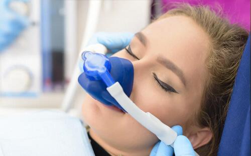 Patient undergoing sedation at dental office